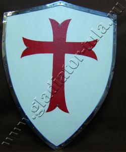Щит рыцарский тамплиерский, деревянный, гнутый.